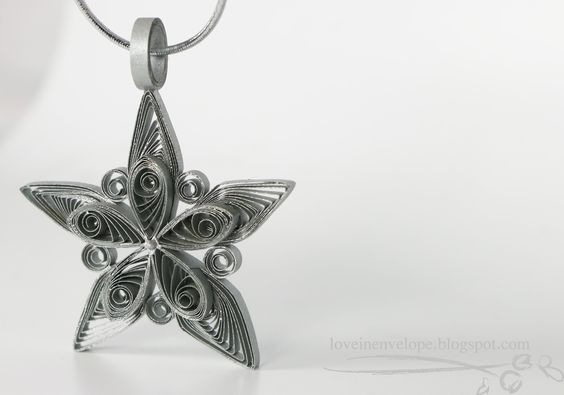 Love in Envelope: Silver Quilled Star Snowflake Tree Ornament