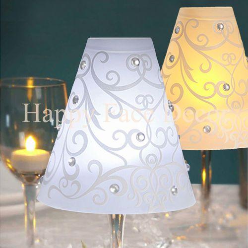 36 david tutera wine glass lamp shades swirl vellum for Wine glass lamp centerpiece