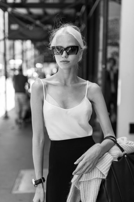 Minimal + Classic: Models off duty, Sasha Luss - Black and white