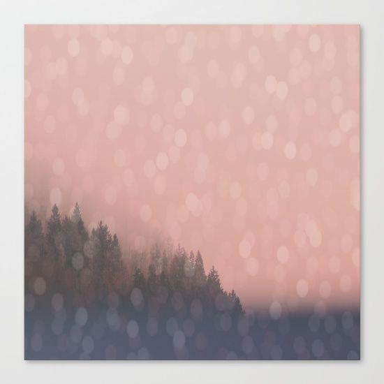 Frosty Morn, Pink Sunrise Frost Trees Forest Landscape Fog Sparkles Canvas Print