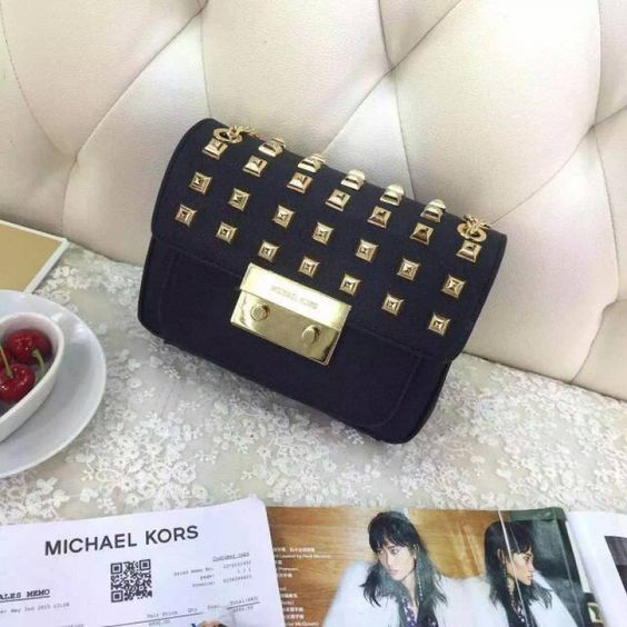 MICHAEL Michael Kors Sloan Studded Leather Small Shoulder Bag Black
