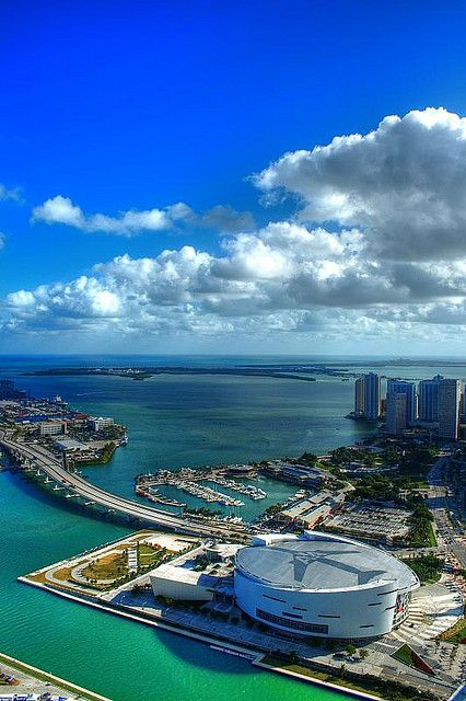Downtown Miami. American Airlines Arena, home of the Miami Heat...