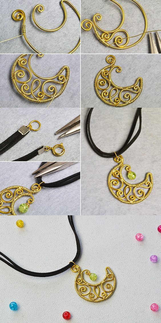 Wanna this wire wrapped moon pendant necklace?You will see the tutorial from LC.Pandahall.com soon.