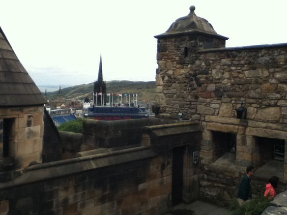 Up on Edinburgh Castle  with great views of the city.