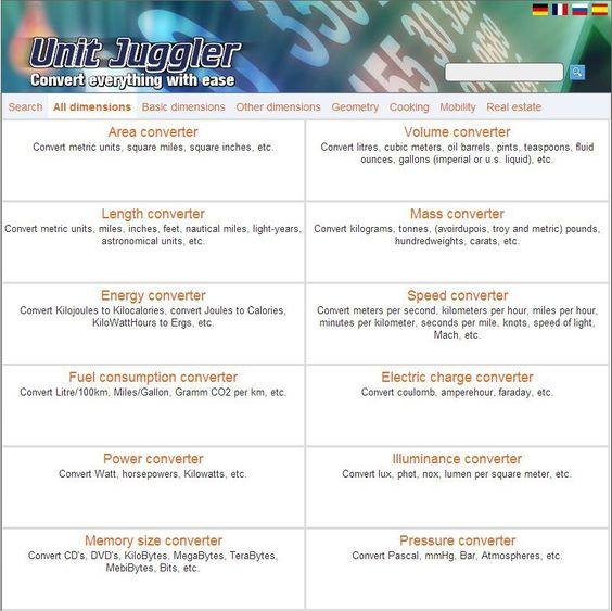UnitJuggler vous permet de calculer et convertir vos unités dans différents domaines. Convertisseur de masse, de distance, de température, de surface, de volume, d'énergie, d'angles, de mémoire, de devises, de vitesse, etc.