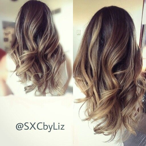High contrast balayage ombre technique. Beige blonde with a hint of golden blonde for the