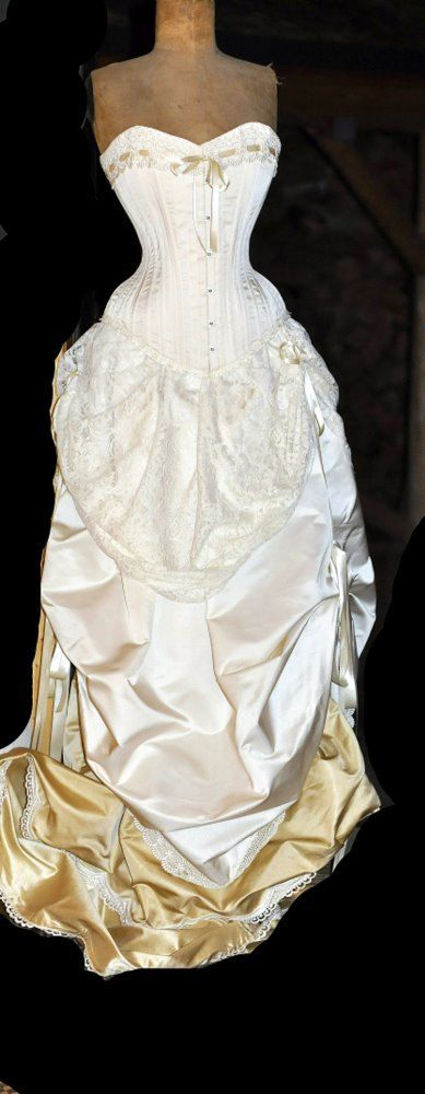 Ivory wedding dress silk corset and bustle skirt for Victorian corset wedding dresses
