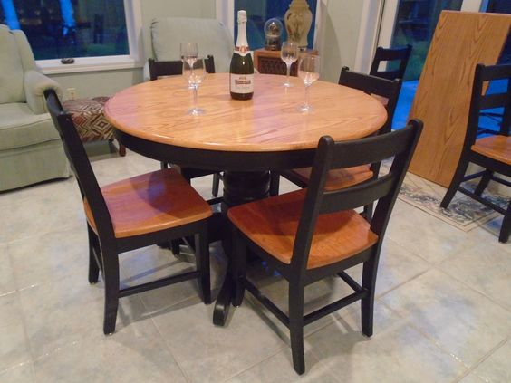 Round Or Oval Pedestal Table With A Leaf Brown Stained