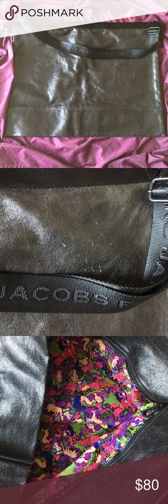 Marc Jacobs Oversized fold over messenger bag Overt oversized Marc Jacobs messenger bag. Colorful inner lining, long. Adjustable strap. Small scratches barely noticeable in front area. Marc by Marc Jacobs Bags Shoulder Bags