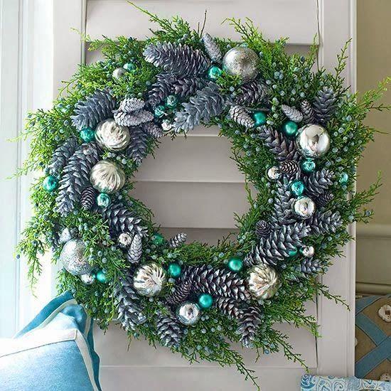 Decoración De Navidad En Turquesa Guirnalda De Navidad Guirnaldas De Navidad Hechas A Mano Coronas Navideñas