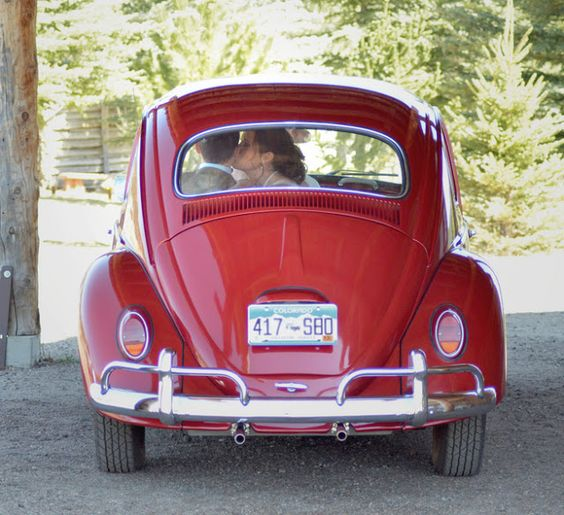 red slug bug wedding picture