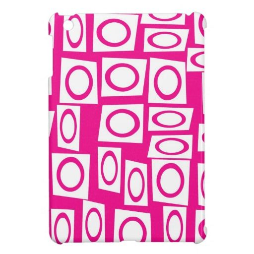 Crazy Hot Pink White Fun Circle Square Pattern Cover For The iPad Mini