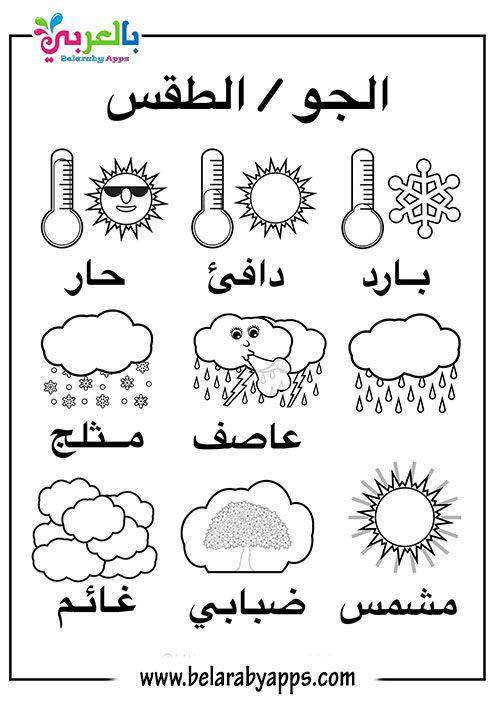 بطاقات تعليم أحوال الطقس للأطفال Pdf فلاش كارد بالعربي نتعلم Kids Learning Math Bullet Journal