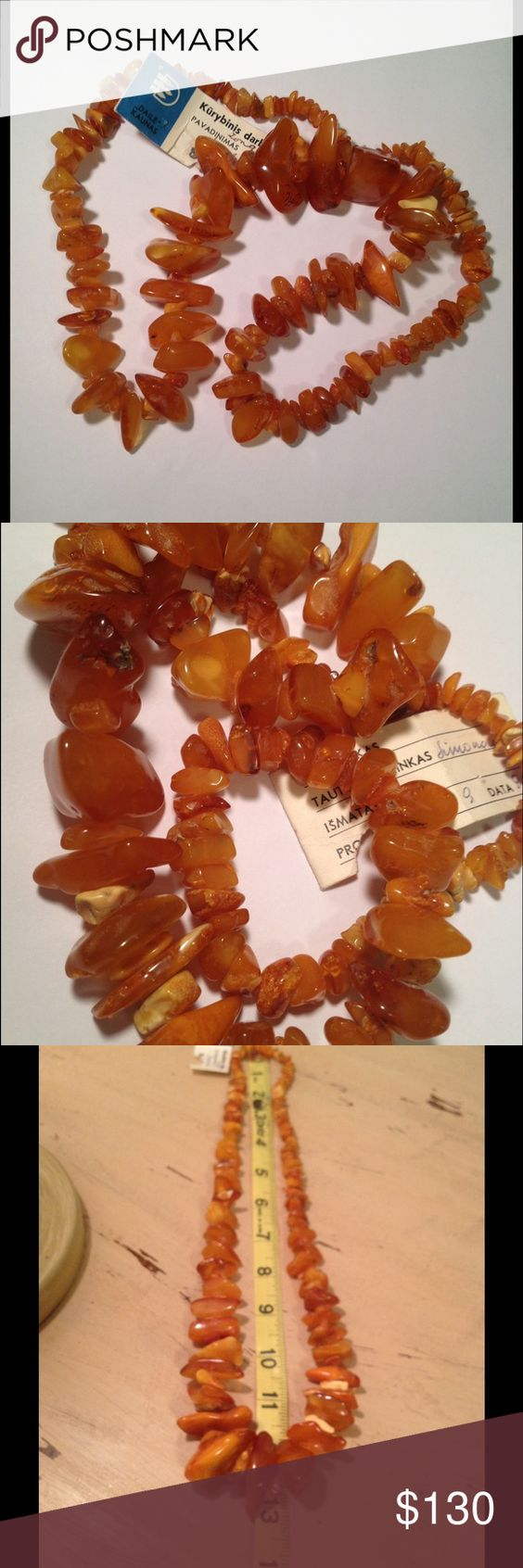 """Vintage Lithuanian Amber Necklace Beautiful vintage graduated natural Baltic Amber necklace from Lithuania. (The greatest source of the real product). Has a tag on that's in Lithuania that reads """"Art Kaunas creative work"""". This necklace just slips over your head. Great vintage condition. Vintage Jewelry Necklaces"""