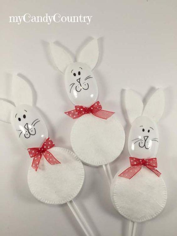 Coniglietti di pasqua con dischetti levatrucco e cucchiai - Decorazioni invernali fai da te ...