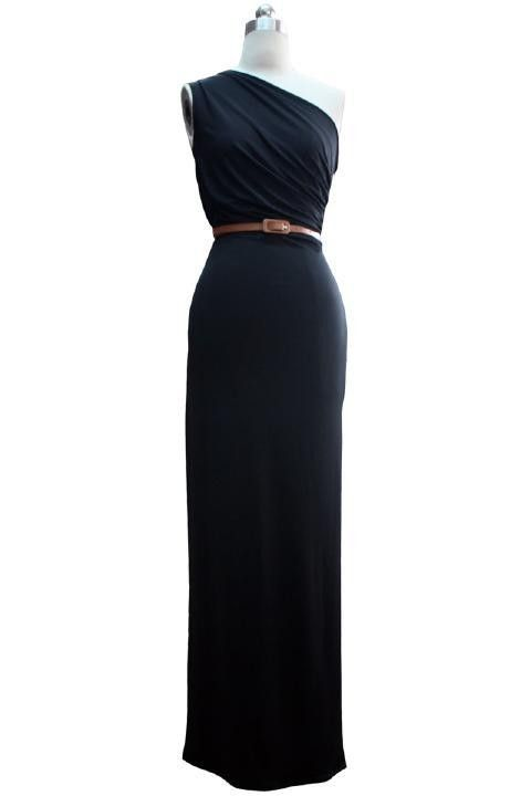 $99.89 Sheath Column One Shoulder Floor Length Spandex Fabric dress with Pleats -Evening Dresses-DeniseDress