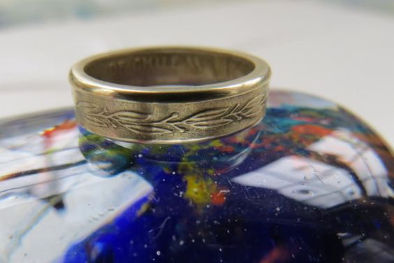 Chile coin ring handcrafted size 5 shown to by ZombieBearCreations