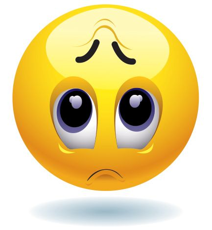 This sad-faced emoticon isn't feeling so great.