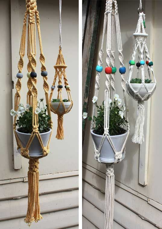 New trend: Macrame pot plant hangers - use in odd quantities. 1960's and 1970's accessories are currently trending in landscape design.  Author: Ms. Lisa Hall - all rights reserved, 2015.: