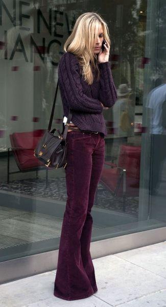 mes pantalons en velours bordeaux