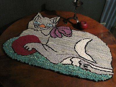 Antique 1800s New England FOLK ART American Hand Hooked Darling CAT Rug Sold North Bayshore Antiques