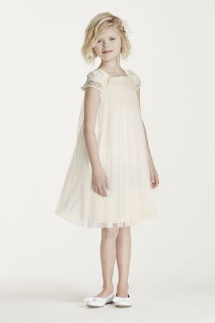 Whimsical short sleeved empire Flower Girl Dress with embroidered bodice and team length tulle skirt.