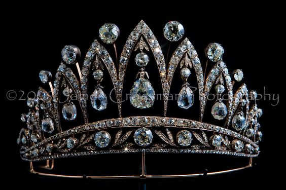 """Empress Josephine Tiara.  """"This diamond tiara was created by Fabergé c. 1890. The stunning briolette diamonds were a gift from Tsar Alexander I given to the Empress Josephine after she was divorced from Napoleon Bonaparte. This piece is one of only a few tiaras ever made by Fabergé."""""""