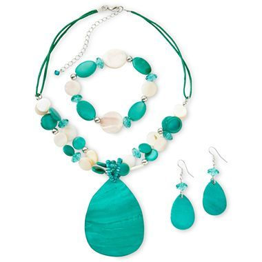 Teal Beaded Necklace, Bracelet & Earrings Boxed Jewelry Set - jcpenney