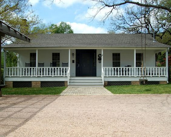 Ranch style house ranch style and front porches on pinterest for Ideas for covered back porch on single story ranch