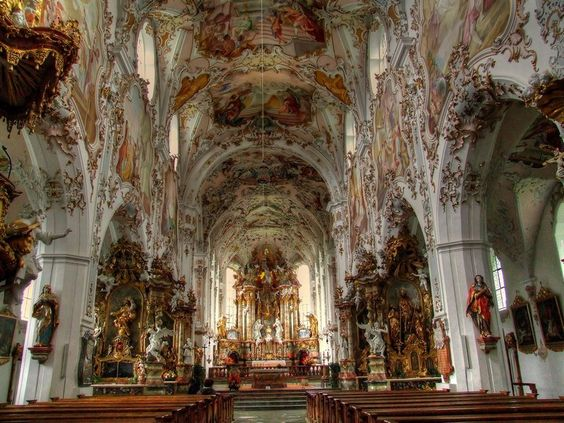 Rococo german church this reminds me of my teacher for Baroque style church