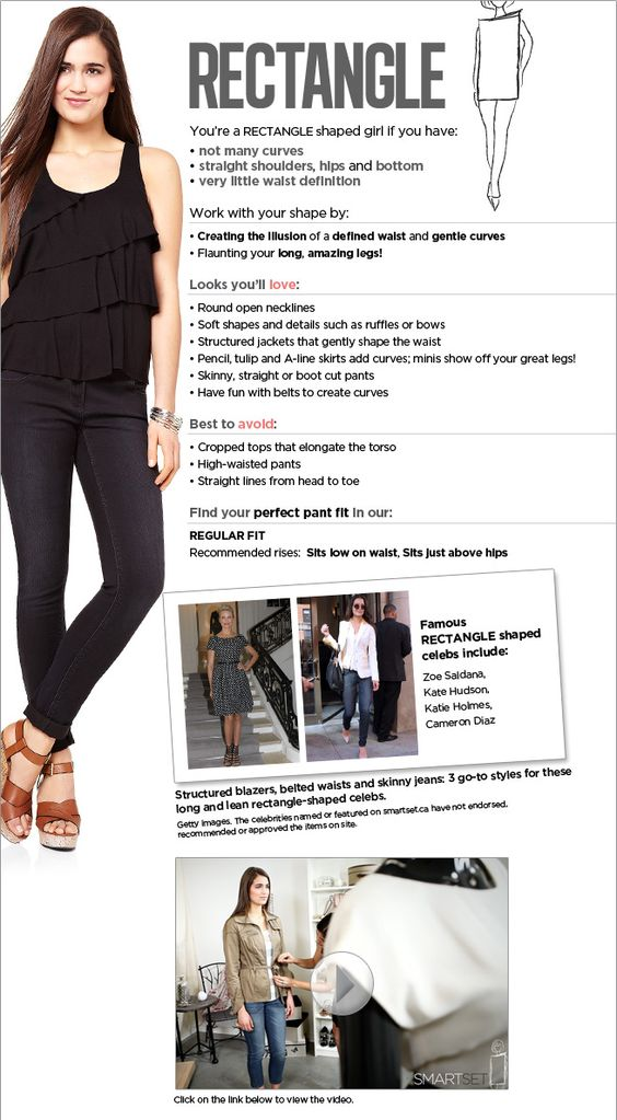 Rectangle Shape Fit Guide - The guide helps you shop in store for what looks good on you.