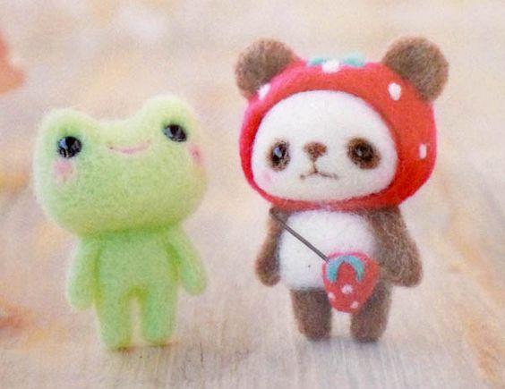 Kit japonais Grenouille et Panda fraise feutrage à l'aiguille