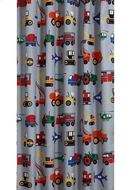 Unbranded Transportation Shower Curtain Gray Kid Boy Truck Tractor