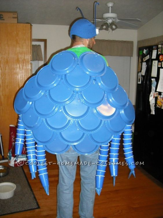 Here is a better picture of my blue crab costume...modeled by my husband. As you can see it is just layered blue plates with blue cups. Looks harder than it was.