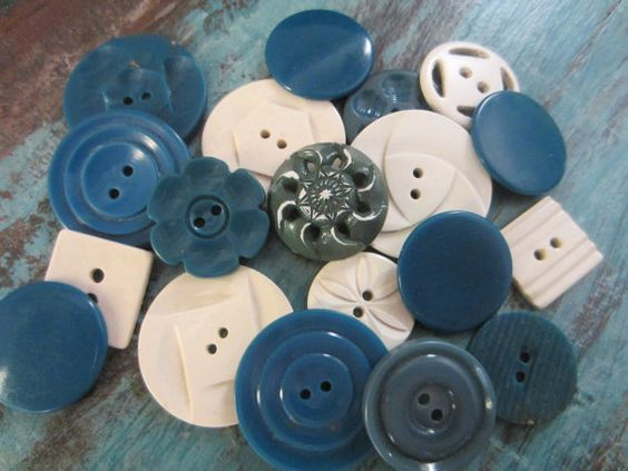 Vintage Buttons  Cottage chic mix of teal and off by pillowtalkswf, $8.95