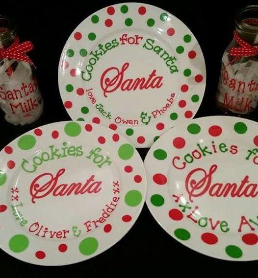 Pin By Kenda Davis 3 Peat On Cookies For Santa Cricut Christmas Ideas Diy Christmas Plate Christmas Diy