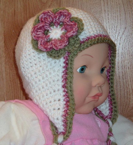 Ear Flap Hat for 9 to 12 month old baby girl...Cute!