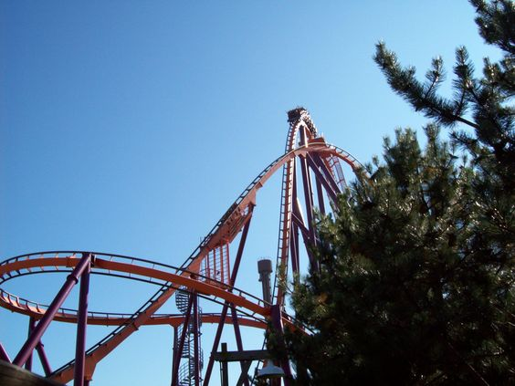 When leaving the Viper ride, you can view the Raging Bull ride (which I never got on this time). Waited several  cycles to try and capture train on this part of the track. The trees help to obscure the sun and provide some dark areas to add to the view.
