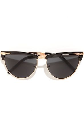 Friendly Rose Gold and Black Sunglasses at Lulus.com!