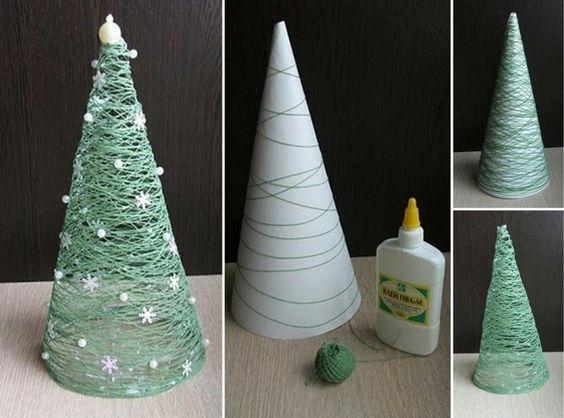 weihnachtsdeko selber basteln tannenbaum papier trichter schnur gruen enne pinterest. Black Bedroom Furniture Sets. Home Design Ideas