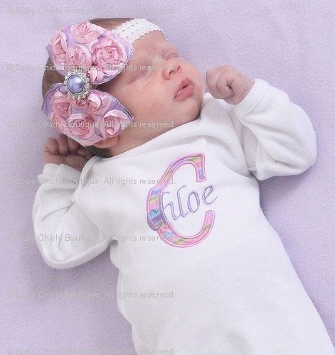 Baby Girl Onesie or Gown and Rosette Hair by BabyChichiBoutique, $36.50