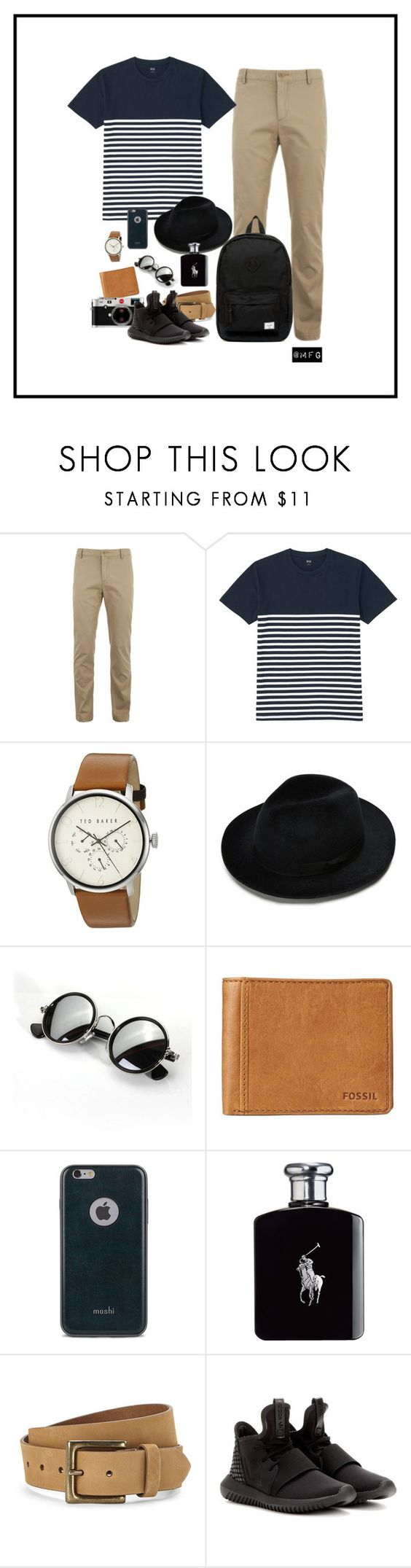 Cassual by farhanoid on Polyvore featuring Uniqlo, Lacoste, Ted Baker, Herschel Supply Co., FOSSIL, Timberland, Moshi, Ralph Lauren, adidas and Leica