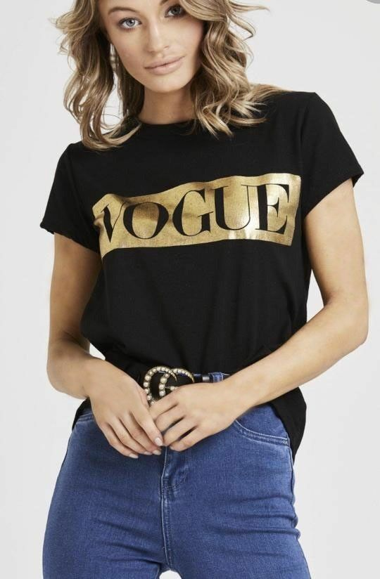 Womens Vogue Slogan Print Round Neck Short Sleeve Tops Ladies T-Shirt Casual Tee