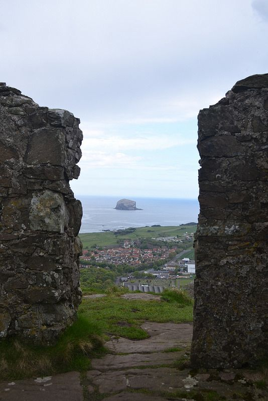 View of Bass Rock from Berwick Law in North Berwick, Scotland.