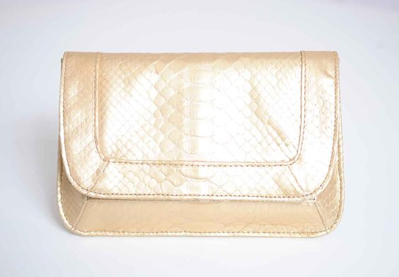 Mary Nichols 'Rebekah Clutch' in gold python