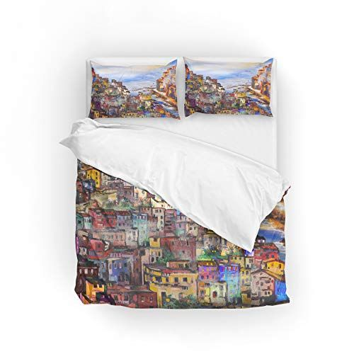 My Daily Italy Colorful Houses Painting Duvet Cover Set Polyester Quilt Bedding Set Full Double Quilt Sets Bedding Full Bedding Sets Duvet Cover Sets