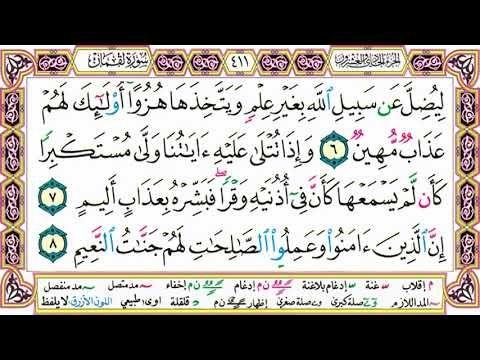 القرآن الكريم مقسم صفحات الشيخ حاتم فريد سورة لقمان صفحة 411 مكتوبة مصحف التجويد الملون Math Words Arabic Calligraphy