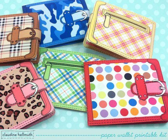 printable paper wallets - money gift card holder plus chore coupons by claudinehellmuth, $4.99
