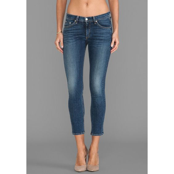 rag & bone/JEAN Capri Denim ($198) ❤ liked on Polyvore featuring jeans, sonoma, denim jeans, capri jeans, blue denim jeans, blue capris and denim capris