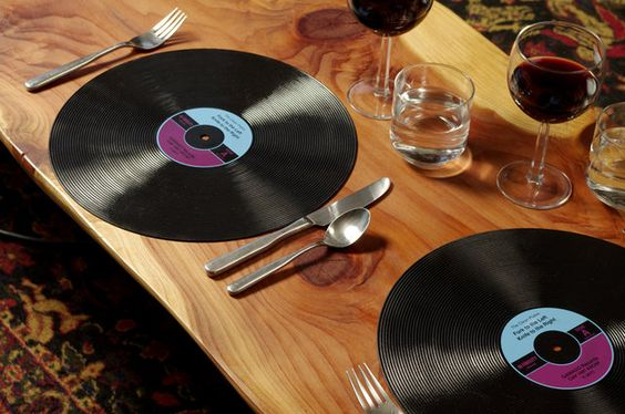 Gama Go Record Placemats - they look like vinyl but are actually a dishwasher safe silicone. Store them in an album sleeve when not in use.